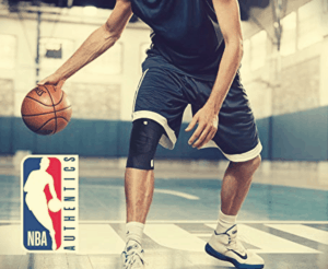 basketball player on court with knee brace